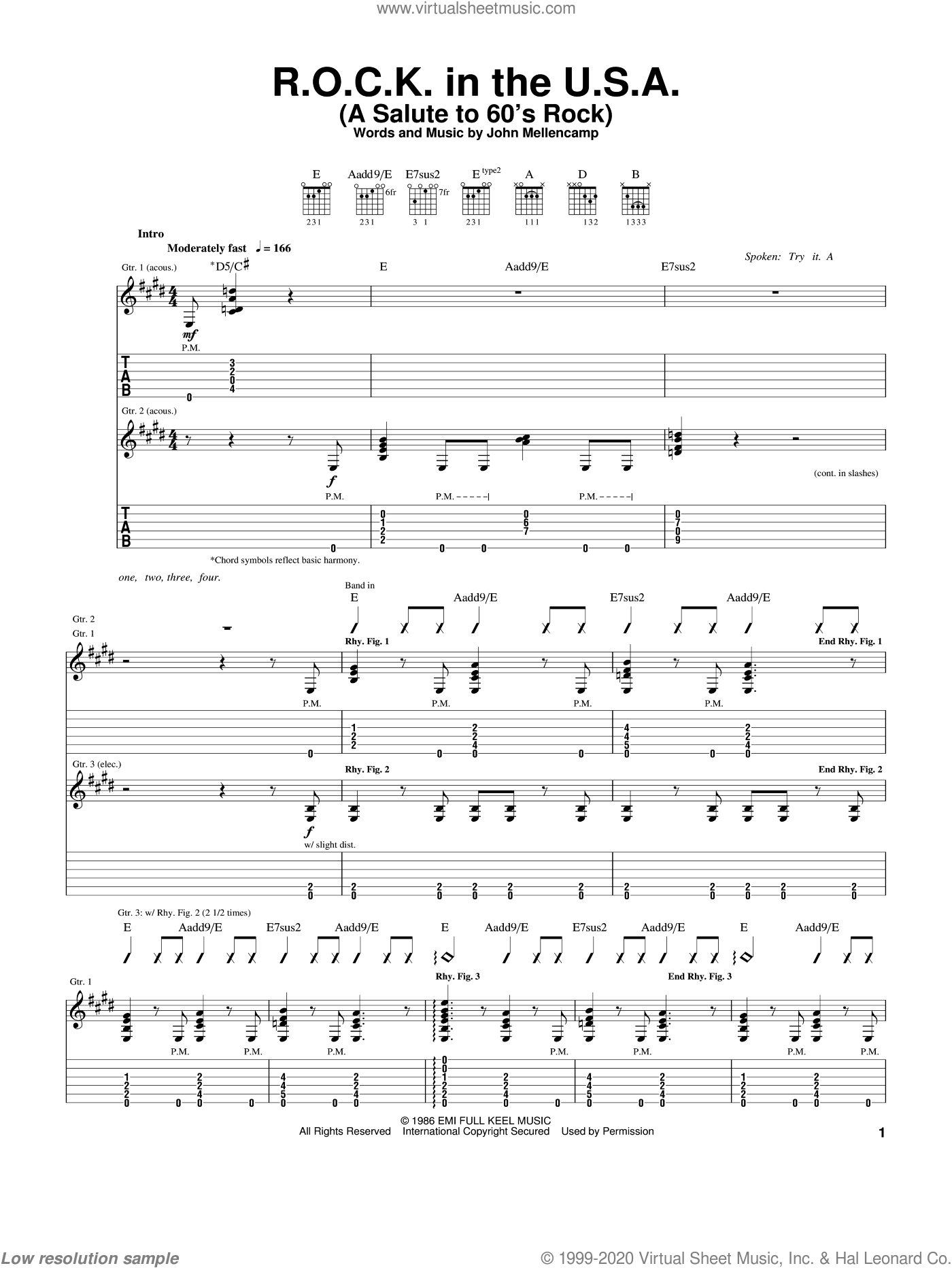 R.O.C.K. In The U.S.A. (A Salute To 60's Rock) sheet music for guitar (tablature) by John Mellencamp, intermediate