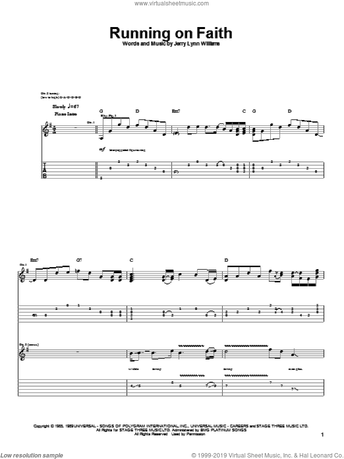 Running On Faith sheet music for guitar (tablature) by Eric Clapton and Jerry Lynn Williams. Score Image Preview.