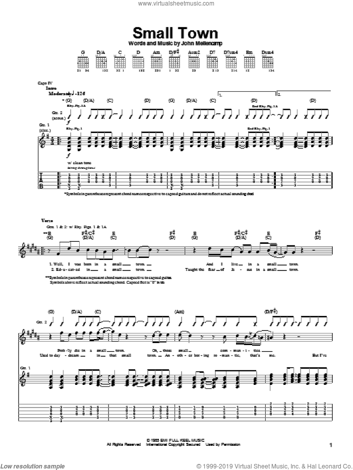 Small Town sheet music for guitar (tablature) by John Mellencamp, intermediate. Score Image Preview.