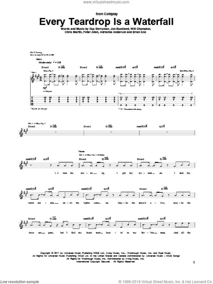 Every Teardrop Is A Waterfall sheet music for guitar (tablature) by Will Champion