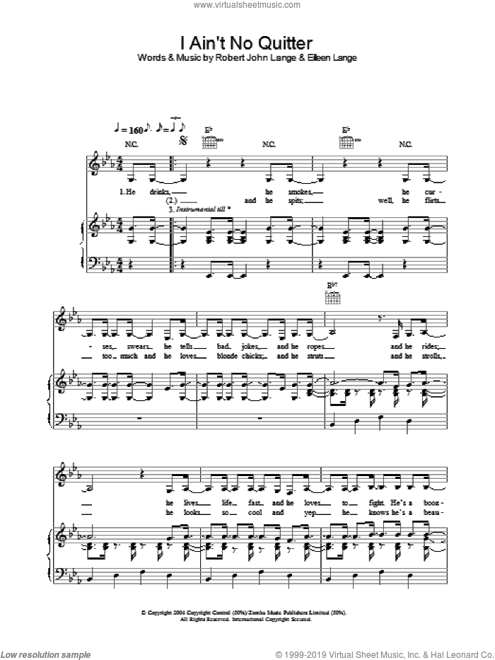 I Ain't No Quitter sheet music for voice, piano or guitar by Shania Twain, Eilleen Lange and Robert John Lange, intermediate skill level