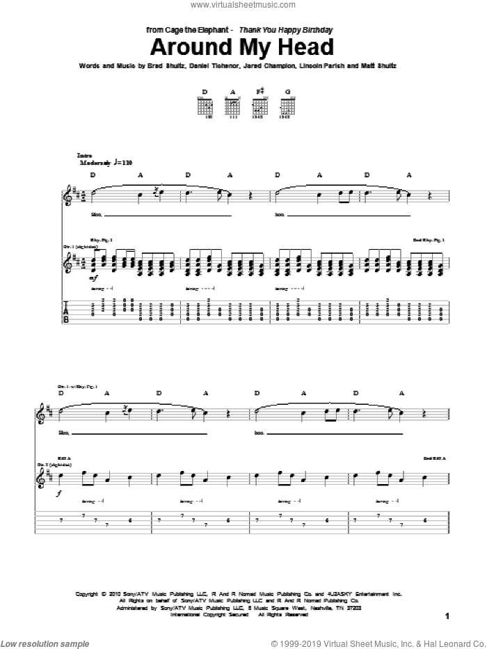 Around My Head sheet music for guitar (tablature) by Cage The Elephant