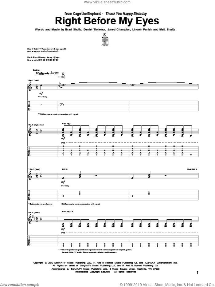 Right Before My Eyes sheet music for guitar (tablature) by Matt Shultz