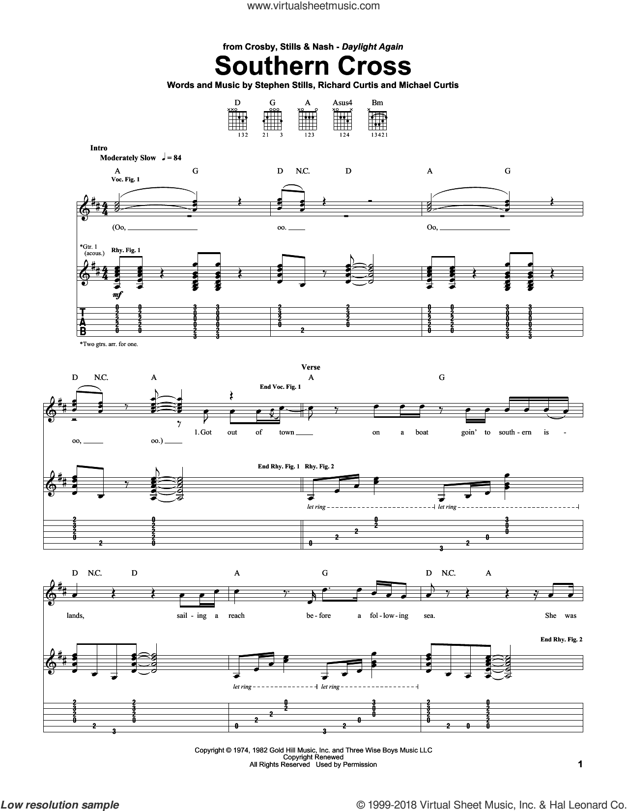 Southern Cross sheet music for guitar (tablature) by Stephen Stills and Crosby, Stills & Nash. Score Image Preview.