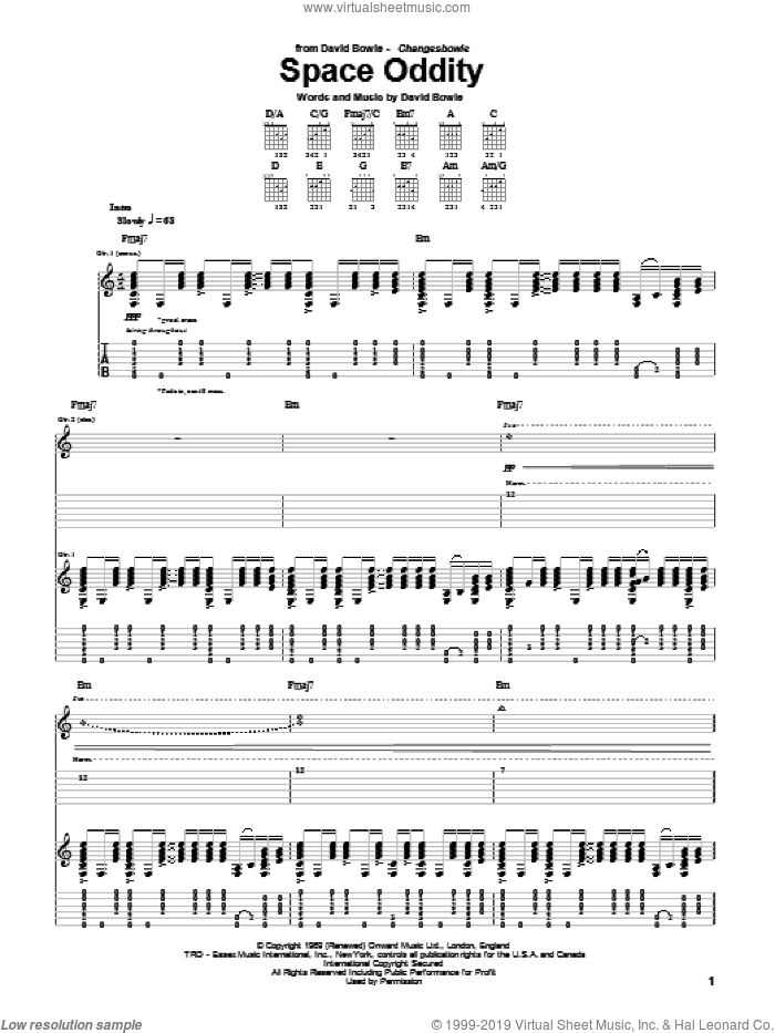 Space Oddity sheet music for guitar (tablature) by David Bowie, intermediate guitar (tablature). Score Image Preview.