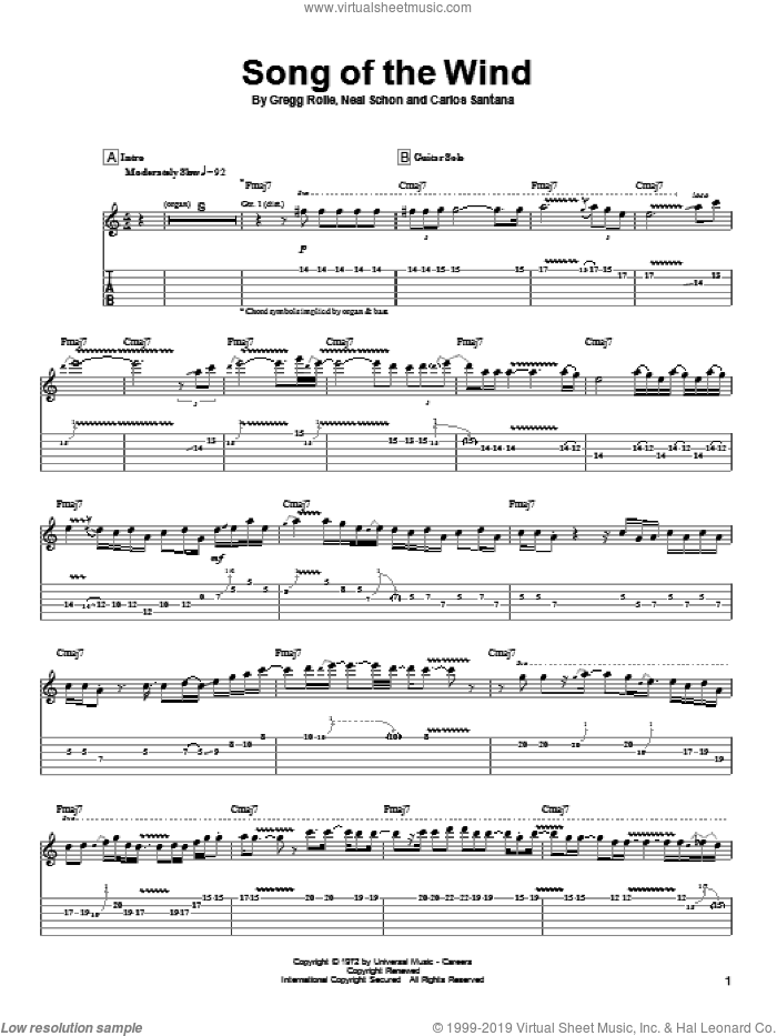 Song Of The Wind sheet music for guitar (tablature) by Neal Schon, Carlos Santana and Gregg Rolie. Score Image Preview.