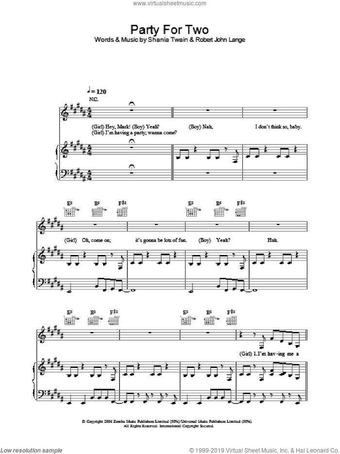 Party For Two sheet music for voice, piano or guitar by Robert John Lange and Shania Twain. Score Image Preview.