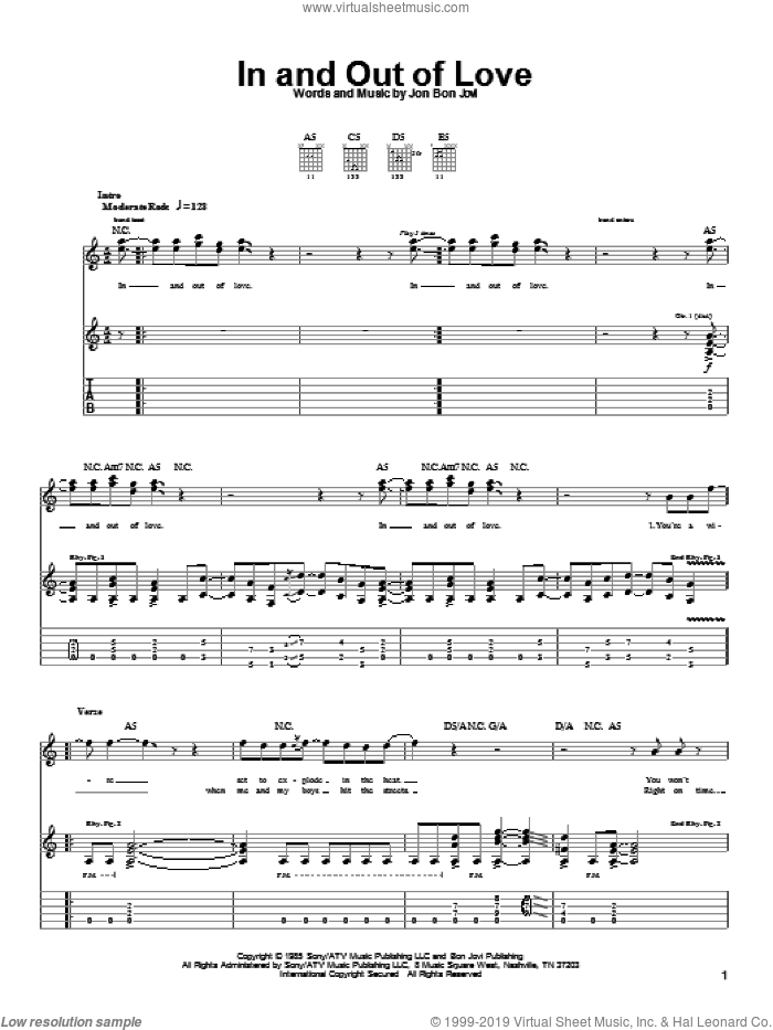 In And Out Of Love sheet music for guitar (tablature) by Bon Jovi, intermediate. Score Image Preview.