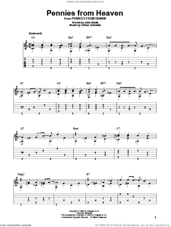 Pennies From Heaven sheet music for guitar solo by John Burke, Bing Crosby and Arthur Johnston. Score Image Preview.