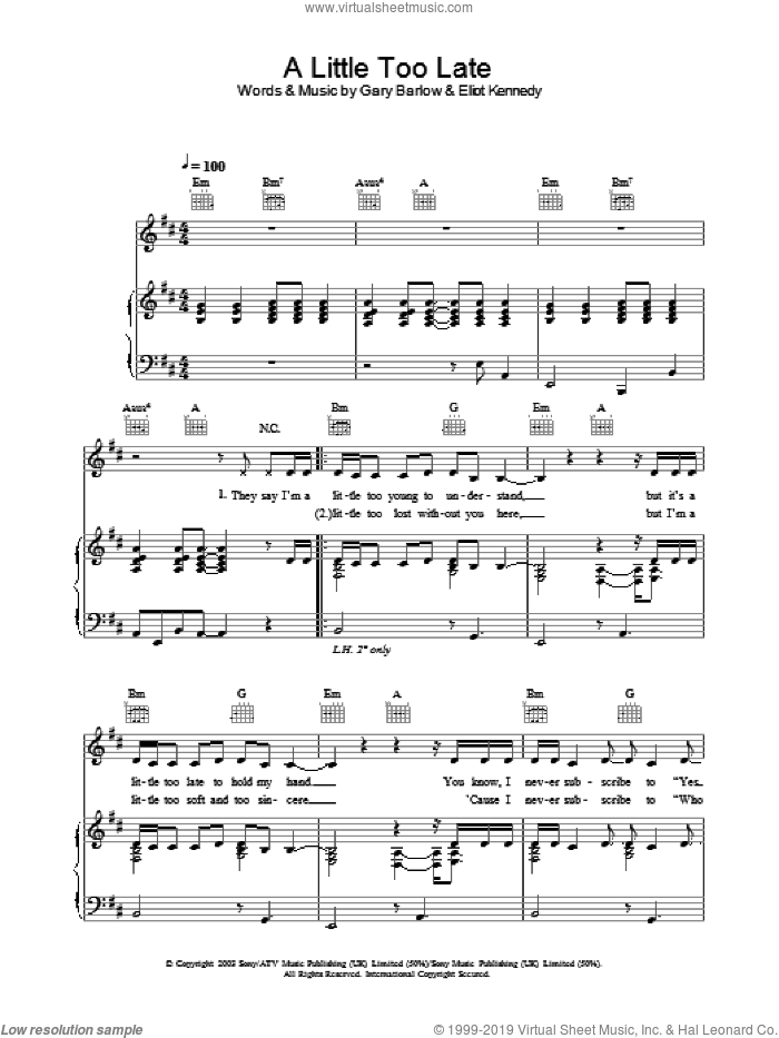 A Little Too Late sheet music for voice, piano or guitar by Gary Barlow, Delta Goodrem and Eliot Kennedy. Score Image Preview.