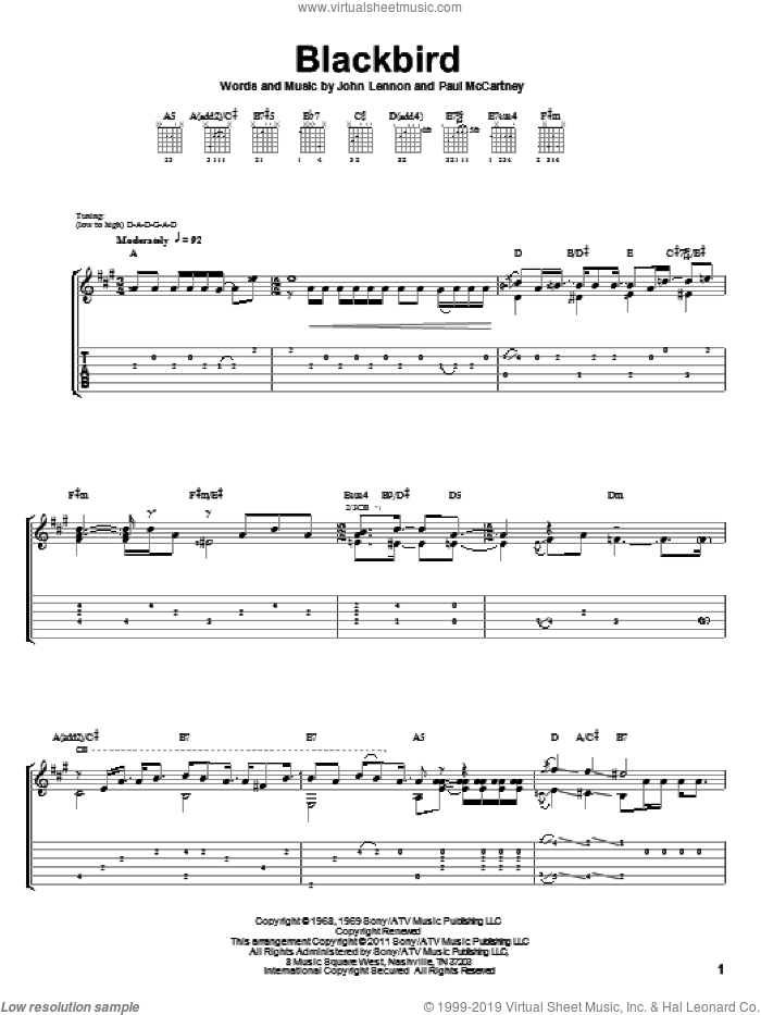Blackbird sheet music for guitar solo by Paul McCartney