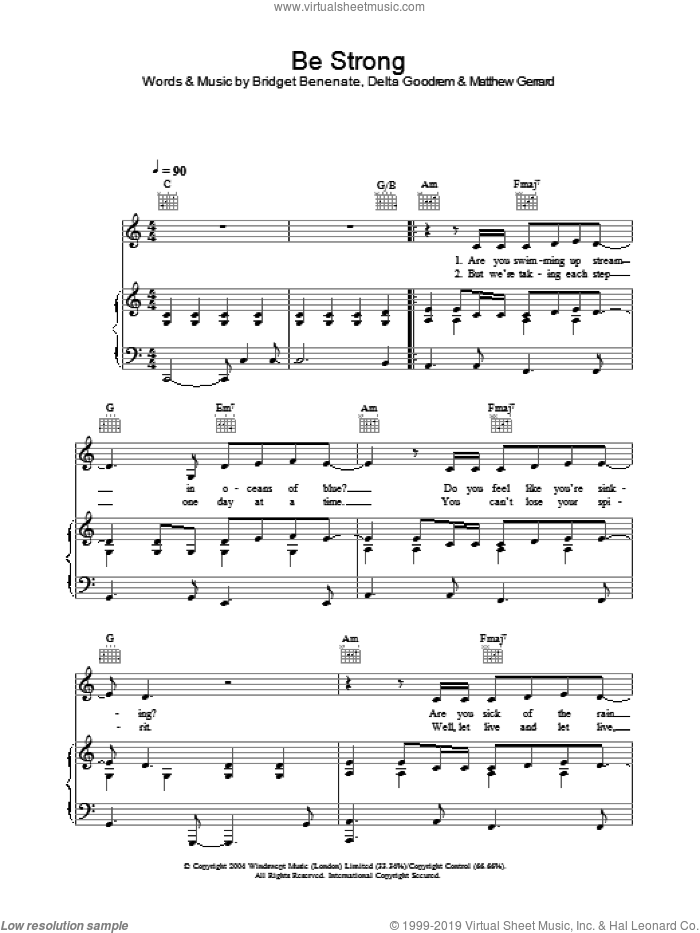 Be Strong sheet music for voice, piano or guitar by Delta Goodrem, Bridget Benenate and Matthew Gerrard. Score Image Preview.