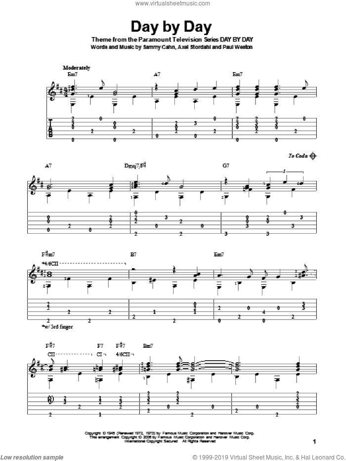 Day By Day sheet music for guitar solo by Sammy Cahn, Axel Stordahl and Paul Weston, intermediate