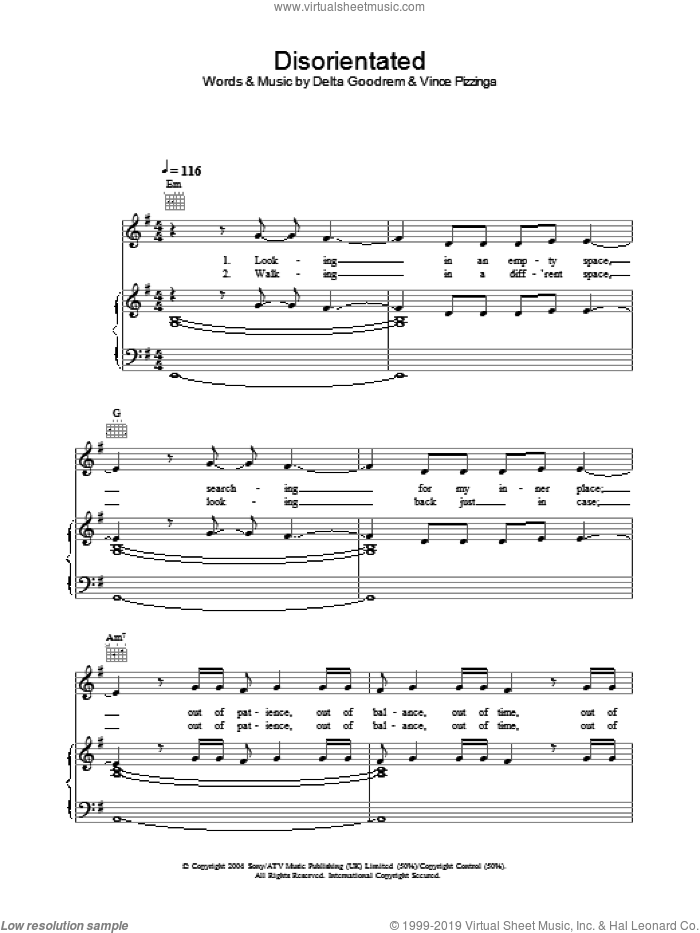 Disorientated sheet music for voice, piano or guitar by Vince Pizzinga