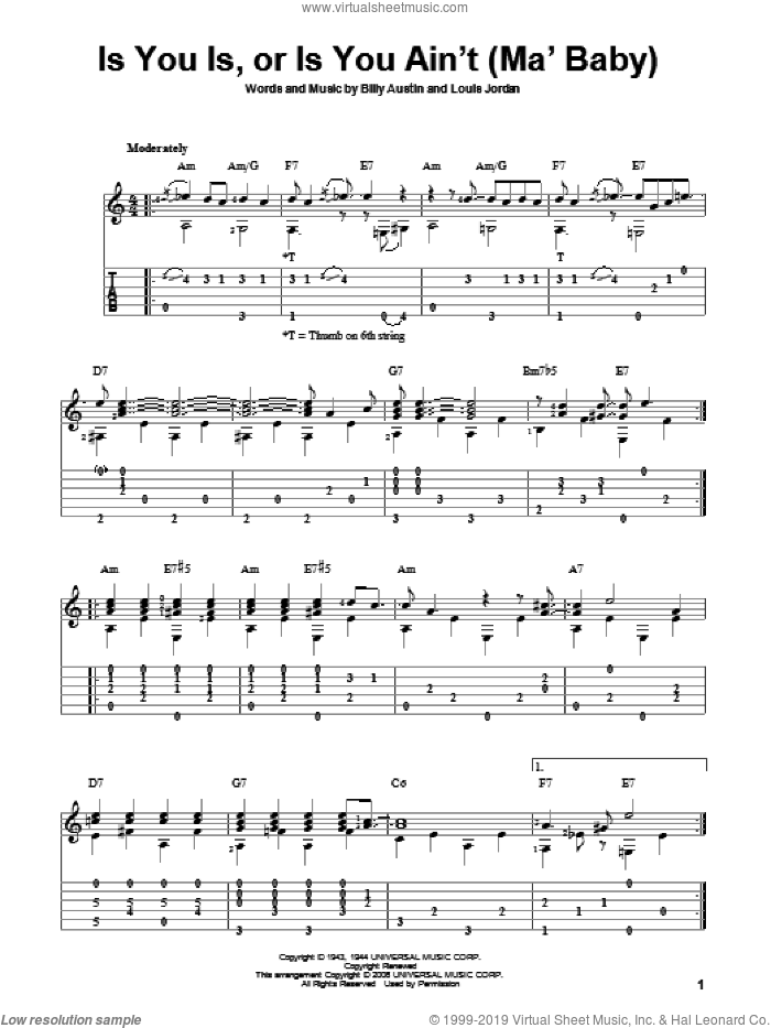 Is You Is, Or Is You Ain't (Ma' Baby) sheet music for guitar solo by Billy Austin and Louis Jordan. Score Image Preview.