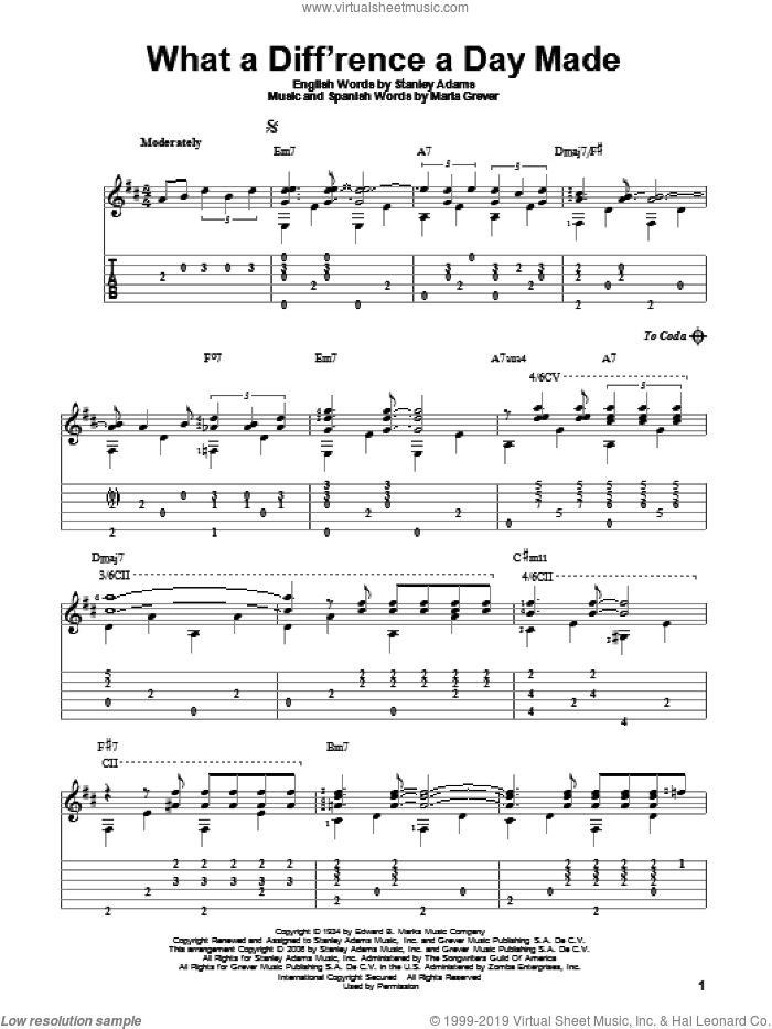 What A Diff'rence A Day Made sheet music for guitar solo by Maria Grever and Stanley Adams