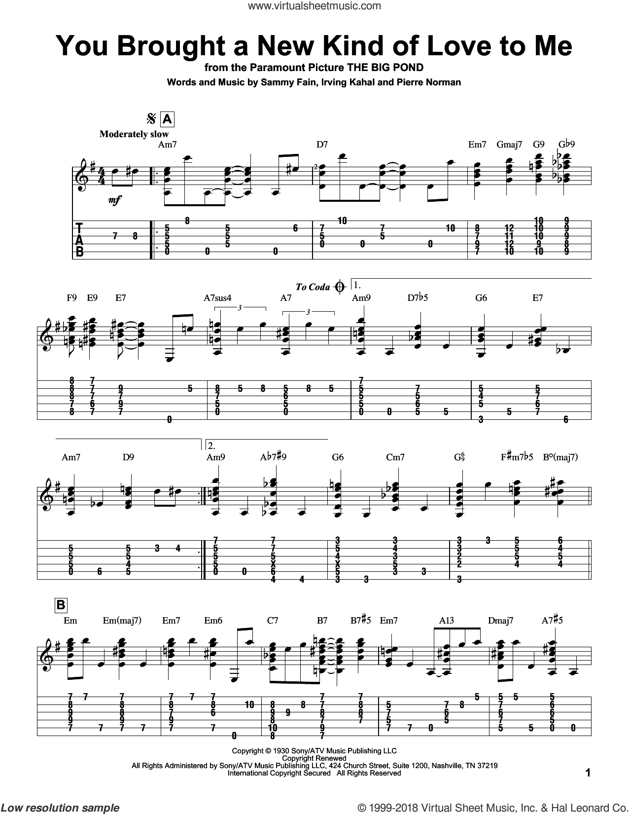You Brought A New Kind Of Love To Me sheet music for guitar solo by Frank Sinatra, Jeff Arnold, Irving Kahal, Pierre Norman and Sammy Fain, intermediate skill level