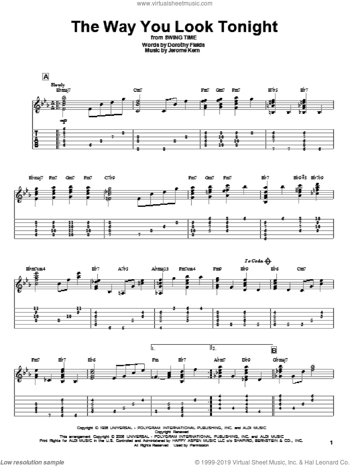 The Way You Look Tonight sheet music for guitar solo by Jerome Kern. Score Image Preview.