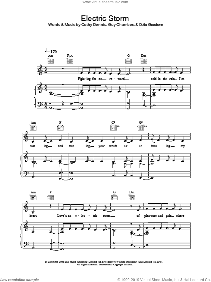 Electric Storm sheet music for voice, piano or guitar by Delta Goodrem, Cathy Dennis and Guy Chambers, intermediate skill level