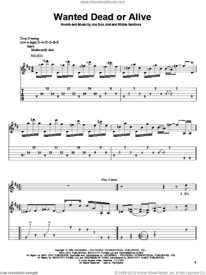 Wanted Dead Or Alive sheet music for guitar solo by Bon Jovi, intermediate. Score Image Preview.