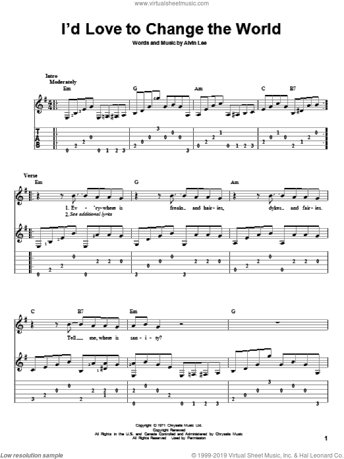 I'd Love To Change The World sheet music for guitar solo by Alvin Lee