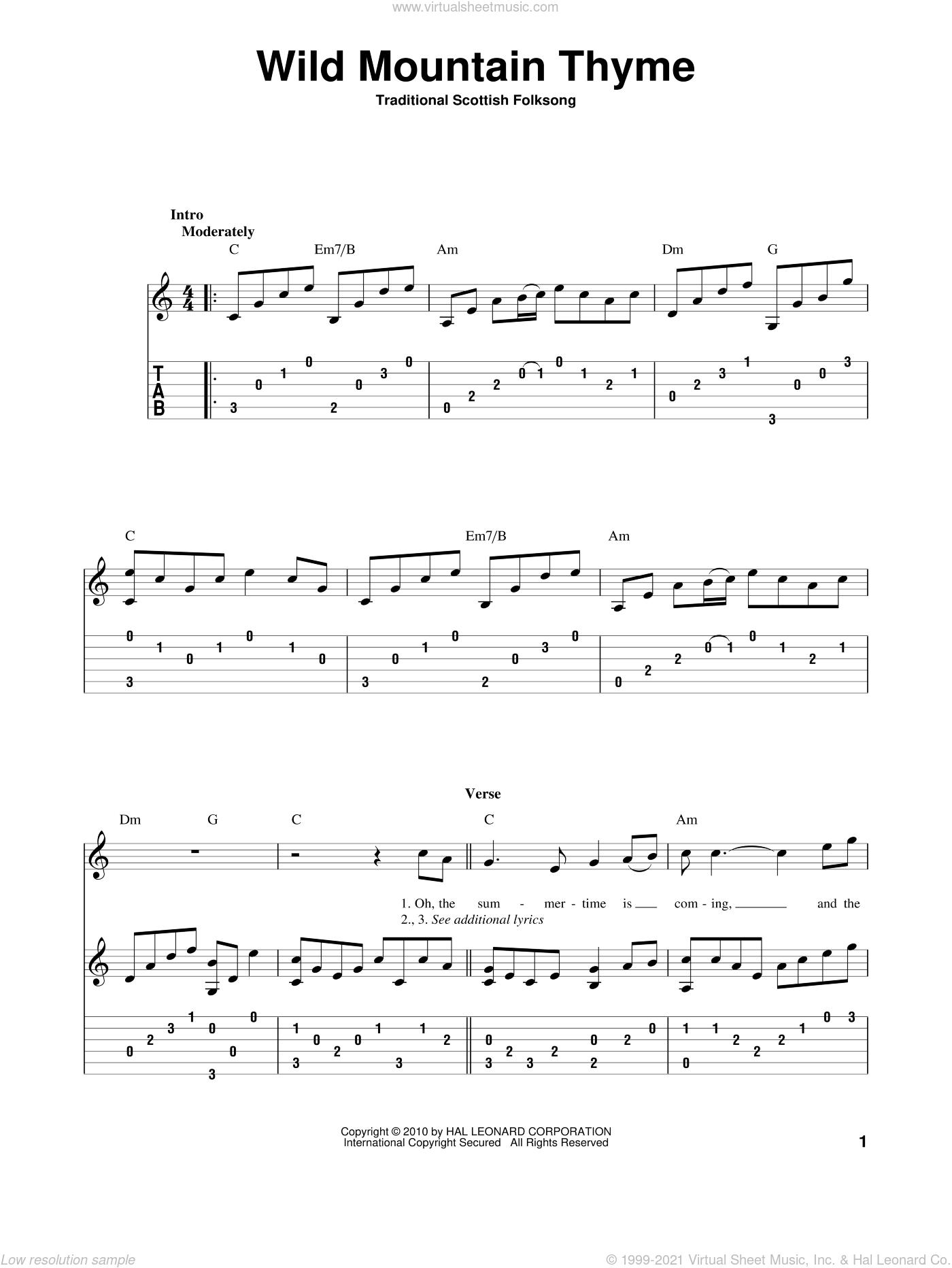 Wild Mountain Thyme sheet music for guitar solo, intermediate skill level