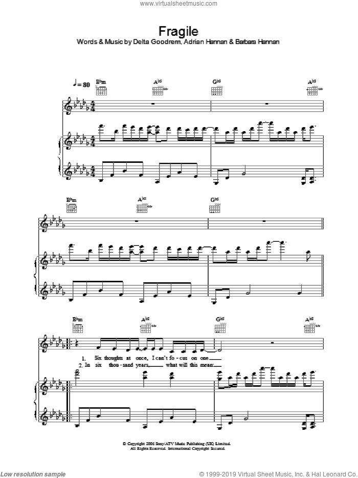 Fragile sheet music for voice, piano or guitar by Barbara Hannan and Delta Goodrem. Score Image Preview.