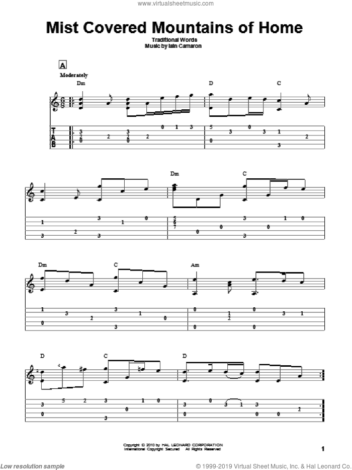 Mist Covered Mountains Of Home sheet music for guitar solo by Iain Camaron and Miscellaneous. Score Image Preview.