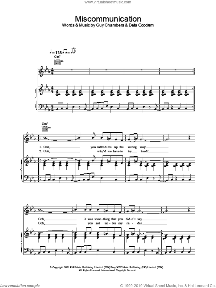 Miscommunication sheet music for voice, piano or guitar by Guy Chambers and Delta Goodrem. Score Image Preview.