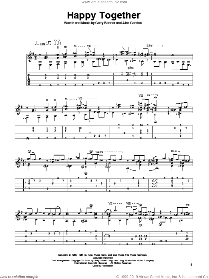 Happy Together sheet music for guitar solo by The Turtles, Alan Gordon and Garry Bonner, intermediate skill level