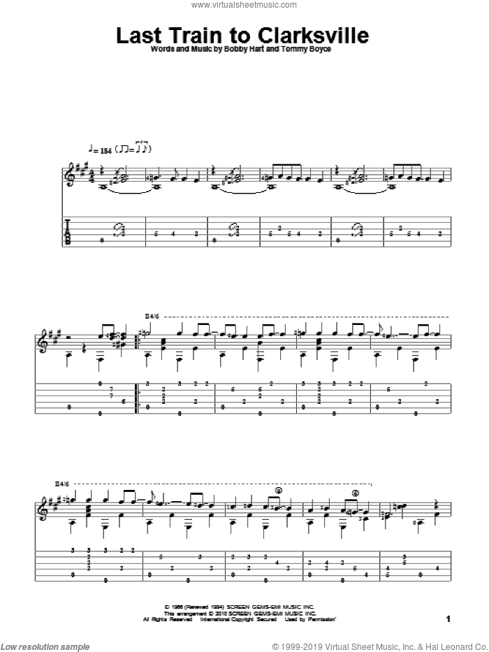 Last Train To Clarksville sheet music for guitar solo by The Monkees and Tommy Boyce, intermediate. Score Image Preview.