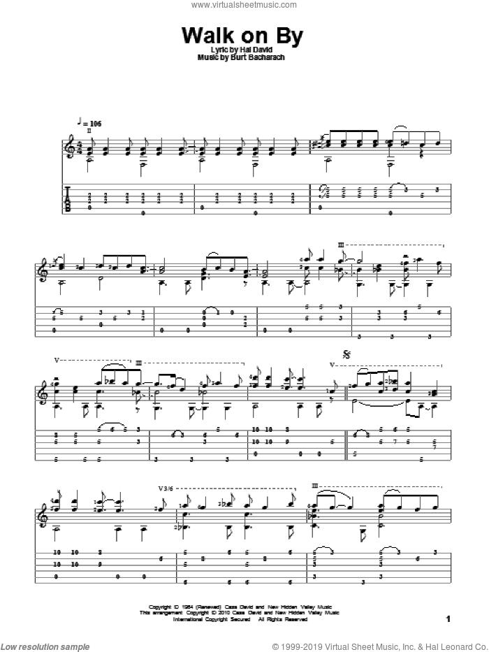 Walk On By sheet music for guitar solo by Dionne Warwick, Burt Bacharach and Hal David, intermediate skill level
