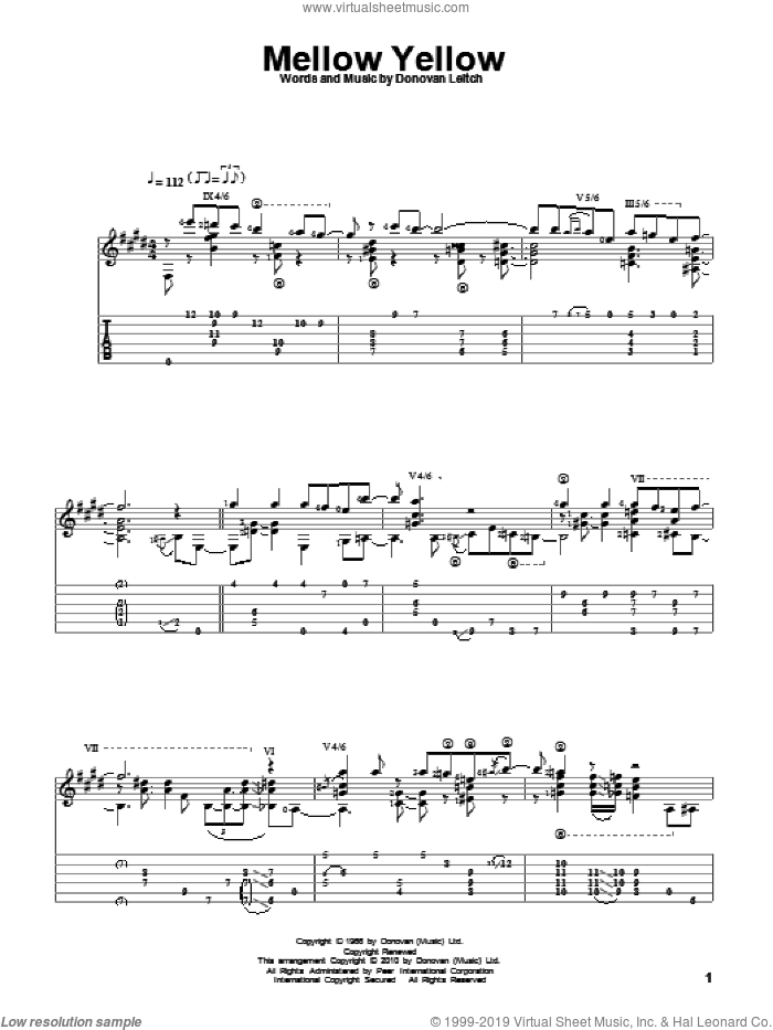 Mellow Yellow sheet music for guitar solo by Walter Donovan, intermediate guitar. Score Image Preview.