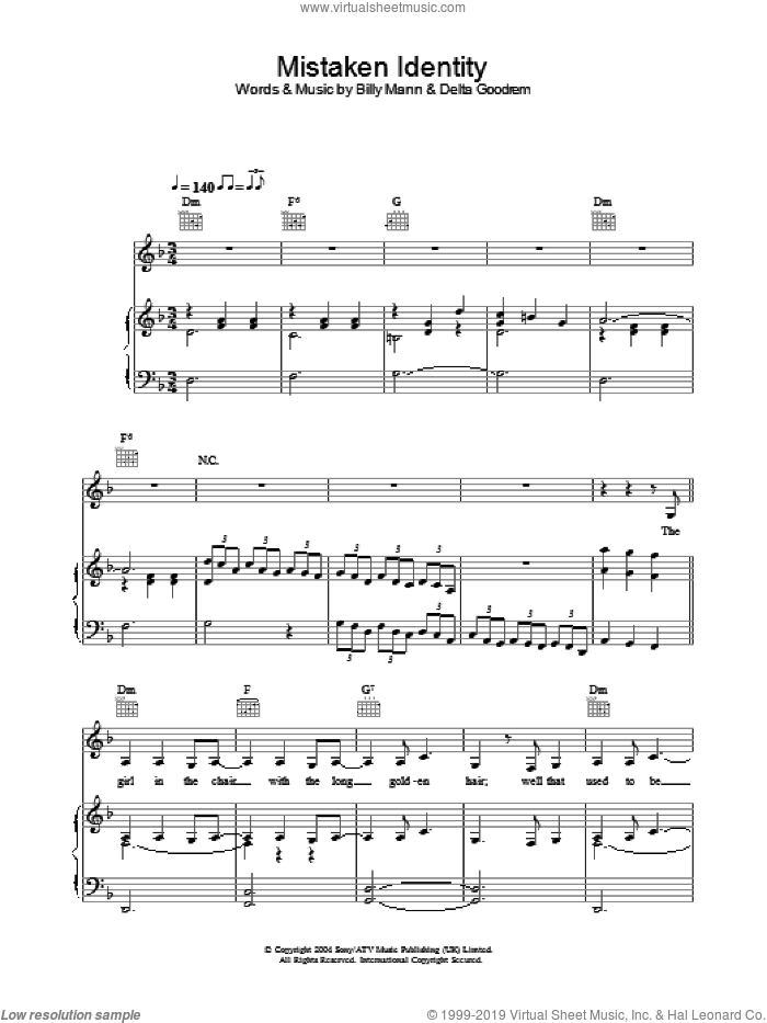 Mistaken Identity sheet music for voice, piano or guitar by Delta Goodrem and Billy Mann. Score Image Preview.