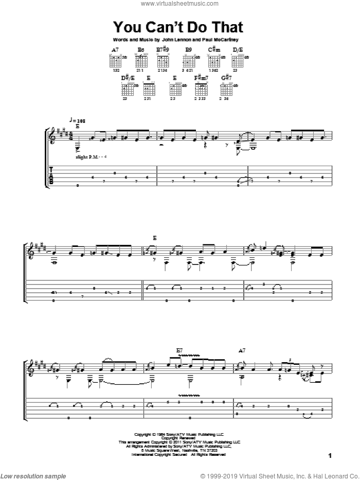 You Can't Do That sheet music for guitar solo by Paul McCartney, The Beatles and John Lennon. Score Image Preview.