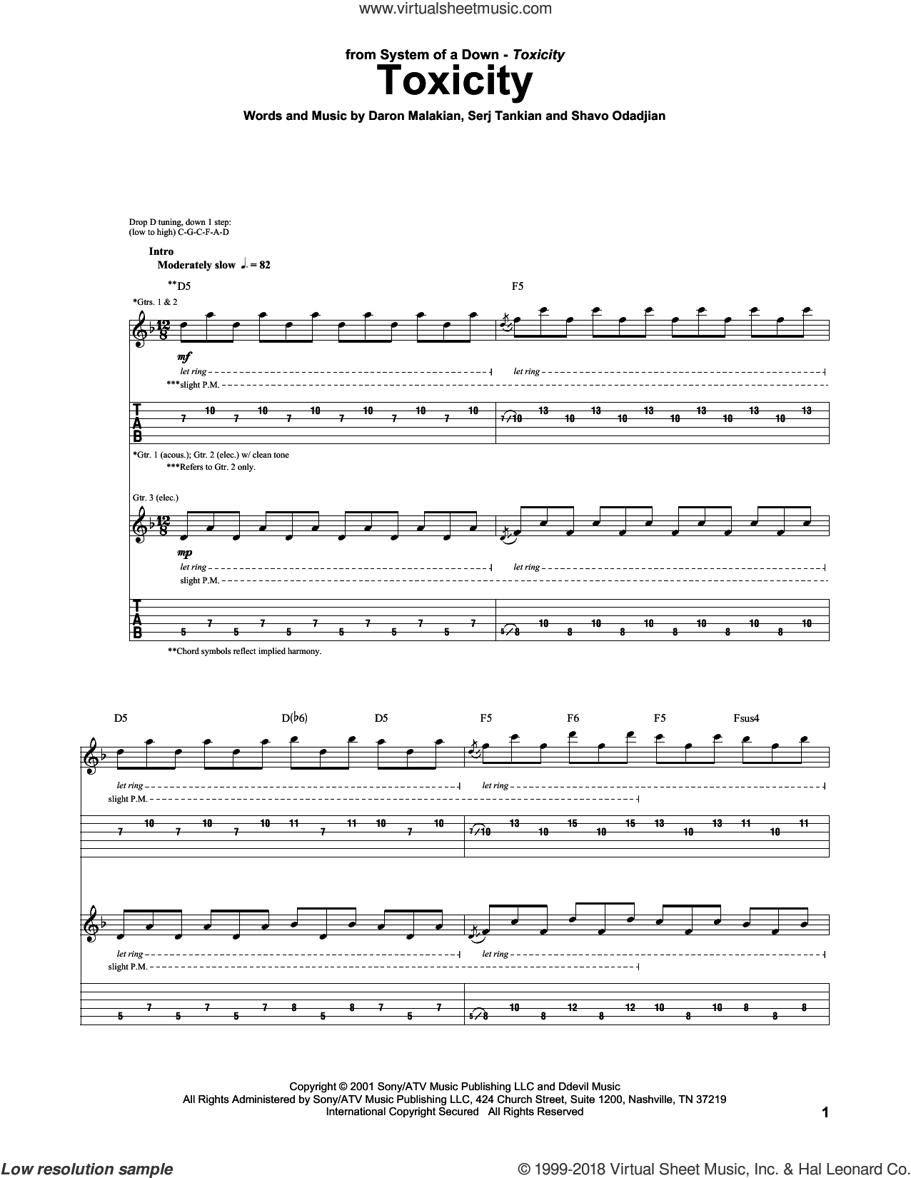 Toxicity sheet music for guitar (tablature) by System Of A Down. Score Image Preview.
