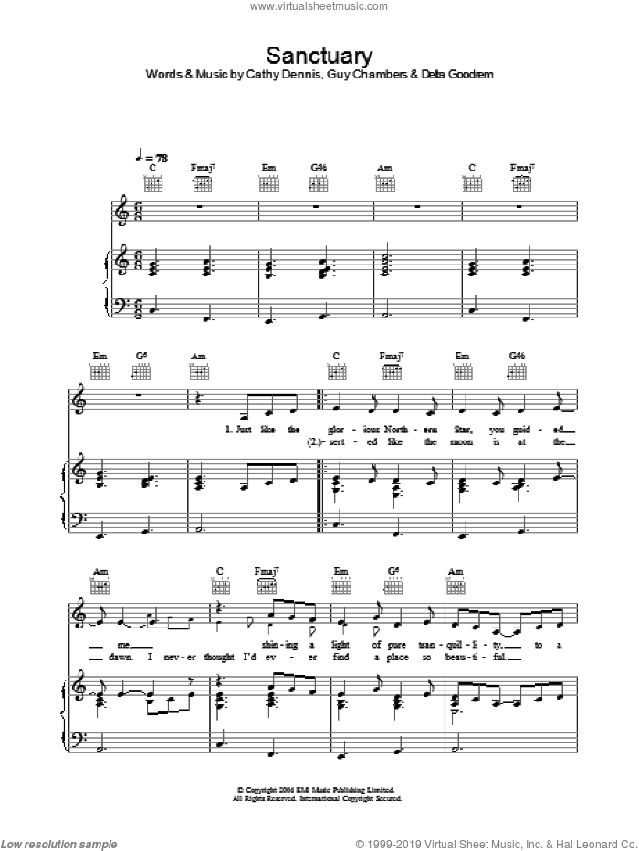 Sanctuary sheet music for voice, piano or guitar by Guy Chambers