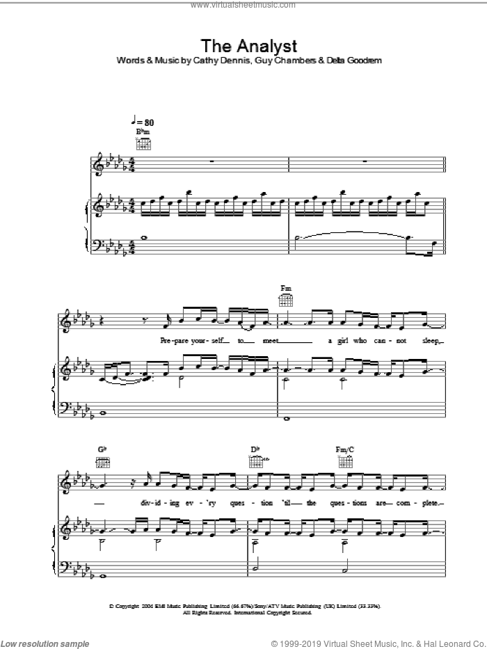 The Analyst sheet music for voice, piano or guitar by Delta Goodrem, Cathy Dennis and Guy Chambers, intermediate. Score Image Preview.