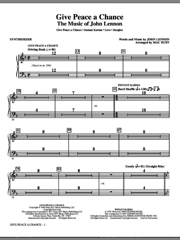 Give Peace A Chance: The Music Of John Lennon (complete set of parts) sheet music for orchestra/band (Rhythm) by John Lennon and Mac Huff, intermediate. Score Image Preview.