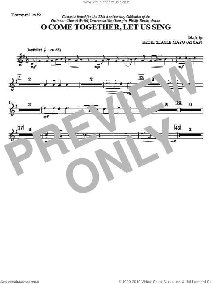 O Come Together, Let Us Sing (complete set of parts) sheet music for orchestra/band by Becki Slagle Mayo and Joyce Parks, intermediate skill level