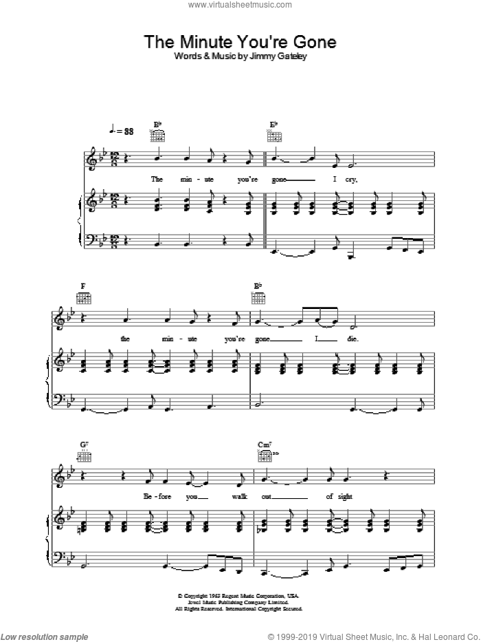 The Minute You're Gone sheet music for voice, piano or guitar by Cliff Richard and Jimmy Gateley, intermediate skill level