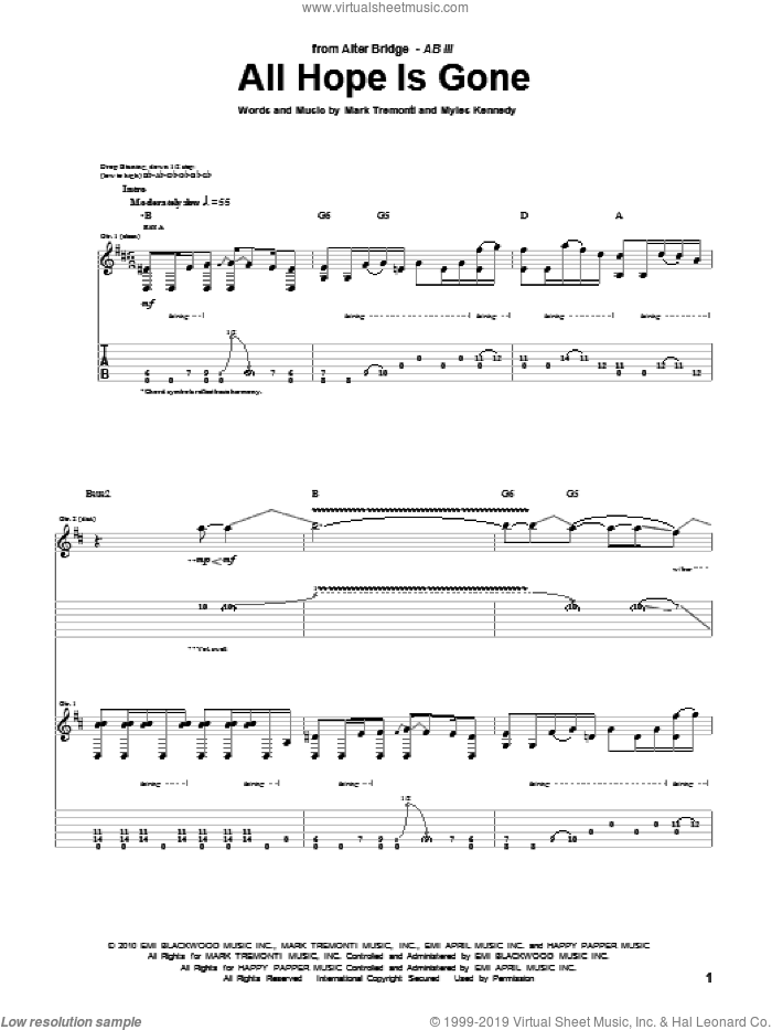 All Hope Is Gone sheet music for guitar (tablature) by Alter Bridge, Mark Tremonti and Myles Kennedy, intermediate skill level