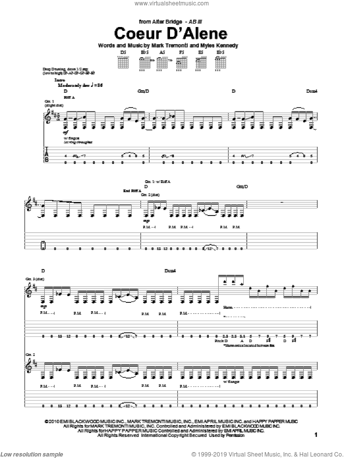 Coeur D'Alene sheet music for guitar (tablature) by Myles Kennedy