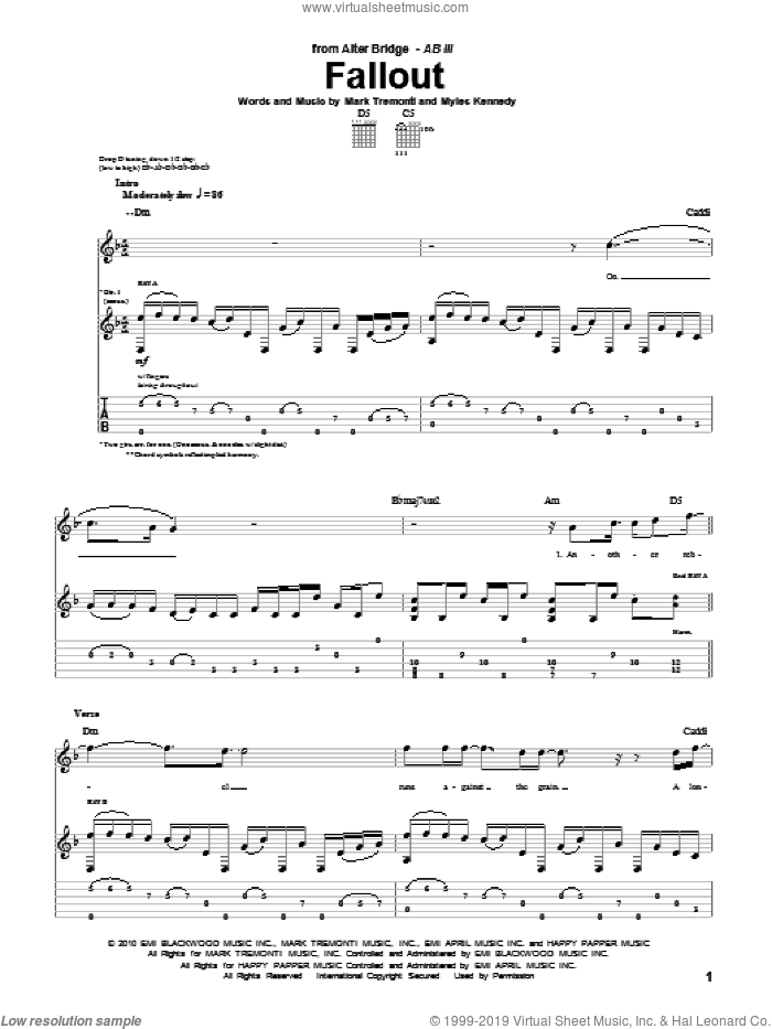 Fallout sheet music for guitar (tablature) by Alter Bridge and Mark Tremonti, intermediate. Score Image Preview.
