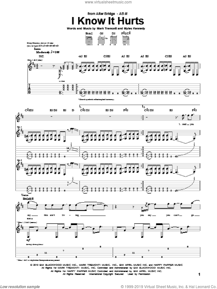I Know It Hurts sheet music for guitar (tablature) by Myles Kennedy