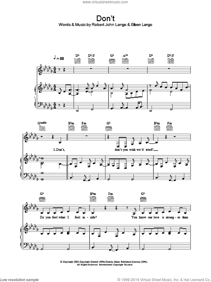 Don't sheet music for voice, piano or guitar by Robert John Lange