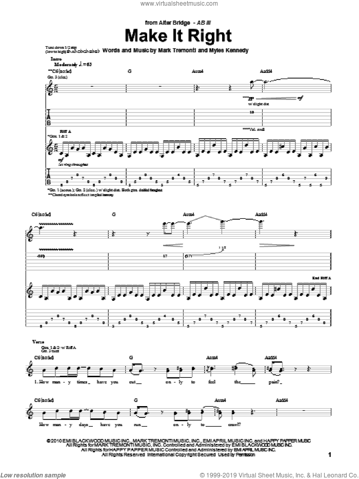 Make It Right sheet music for guitar (tablature) by Alter Bridge, Mark Tremonti and Myles Kennedy, intermediate. Score Image Preview.
