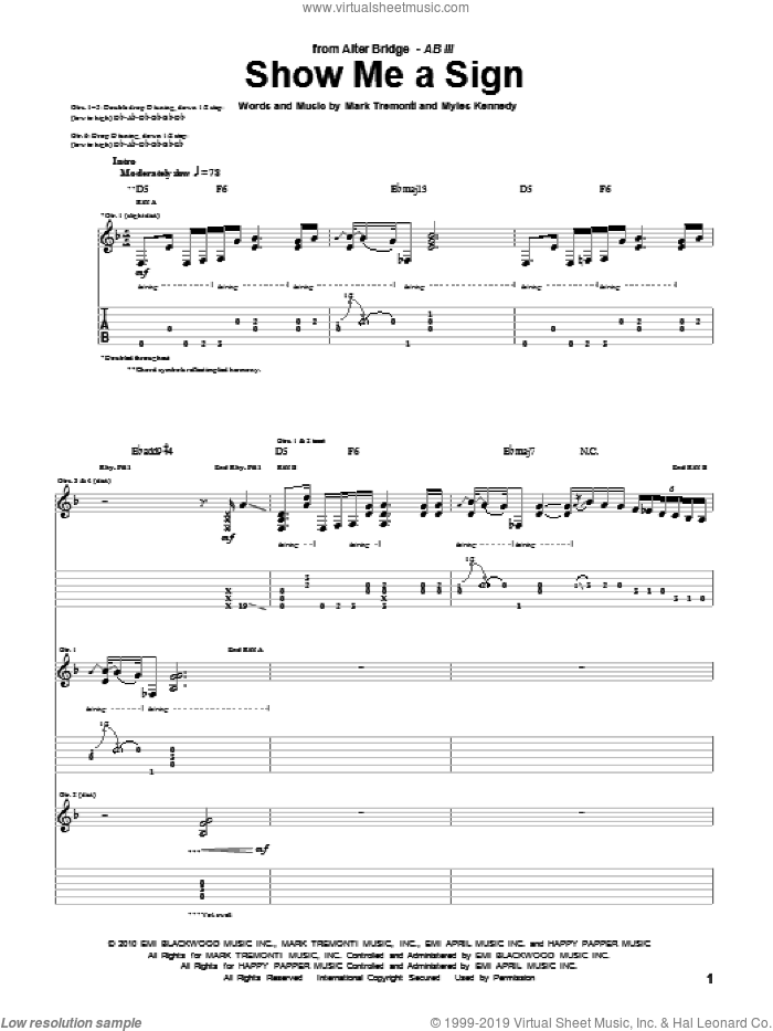 Show Me A Sign sheet music for guitar (tablature) by Alter Bridge and Mark Tremonti, intermediate. Score Image Preview.