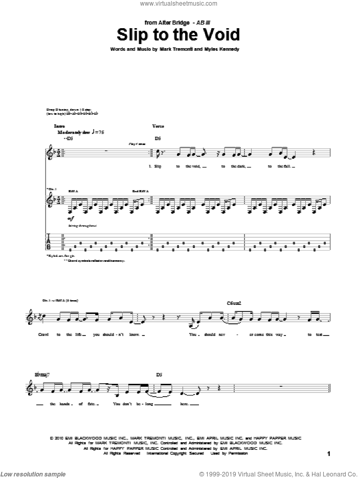 Slip To The Void sheet music for guitar (tablature) by Alter Bridge and Mark Tremonti, intermediate. Score Image Preview.