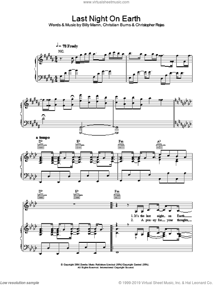 Last Night On Earth sheet music for voice, piano or guitar by Christopher Rojas